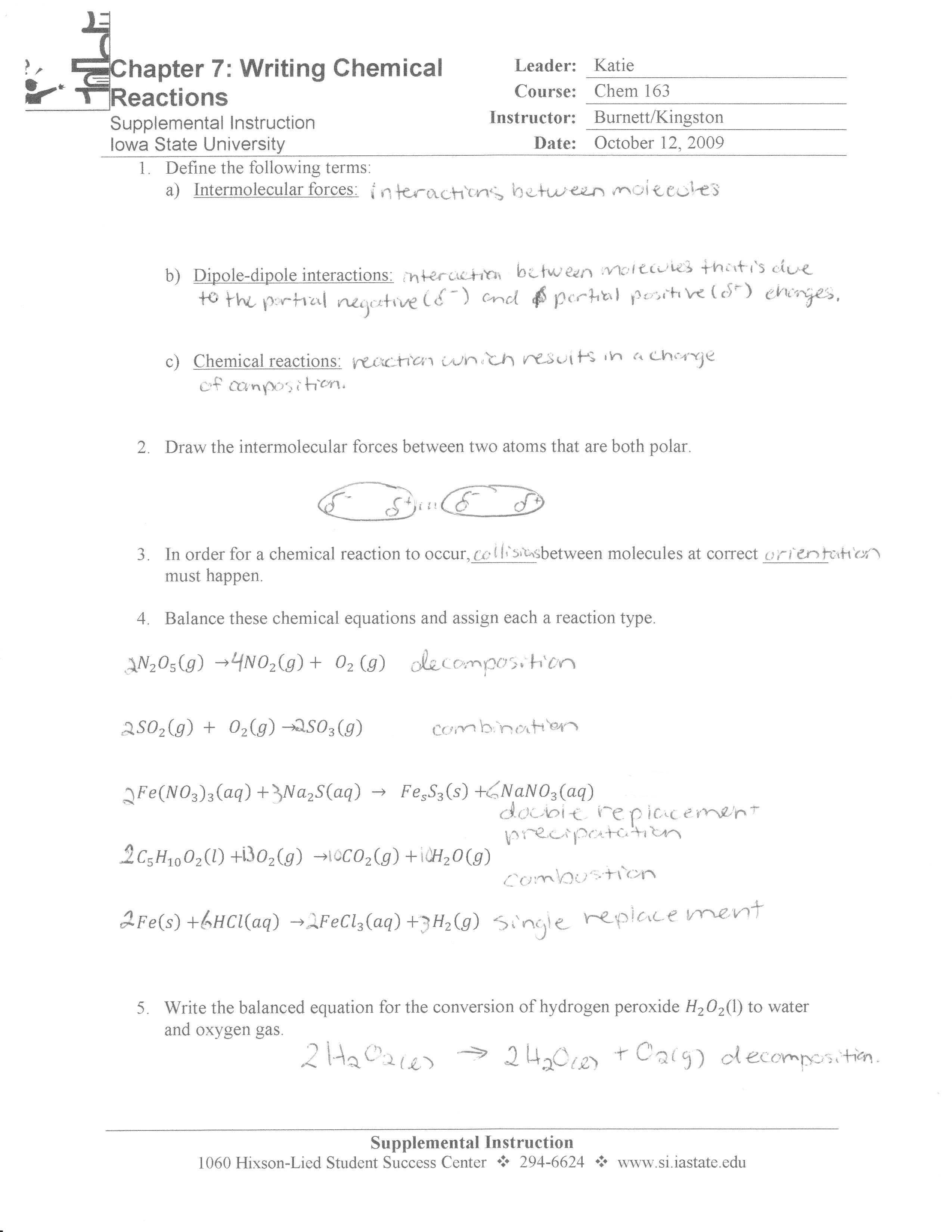 CHEM 163 Supplemental Instruction - Dean of Students ...