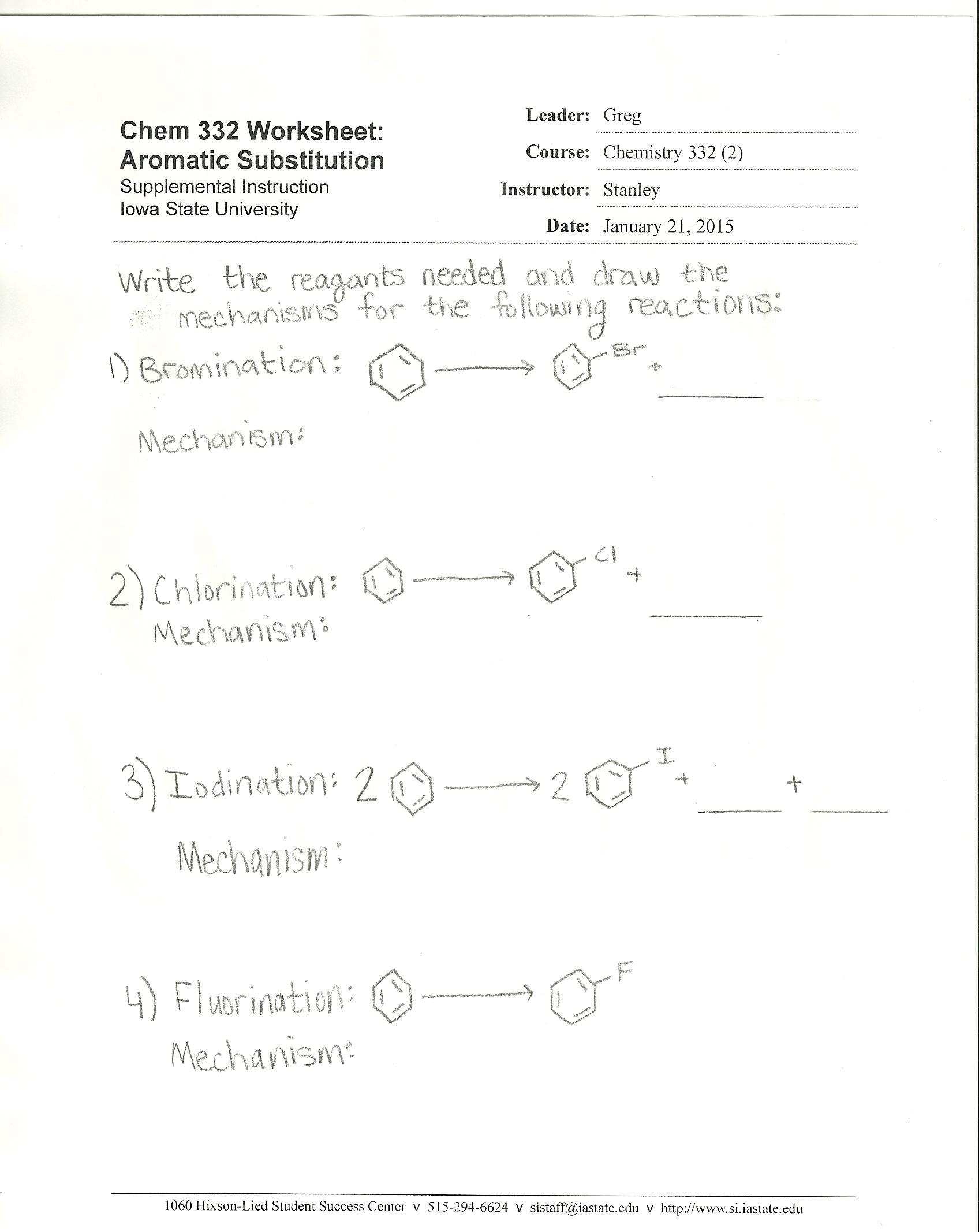CHEM 332 2 Supplemental Instruction Dean of Students Office – U Substitution Worksheet